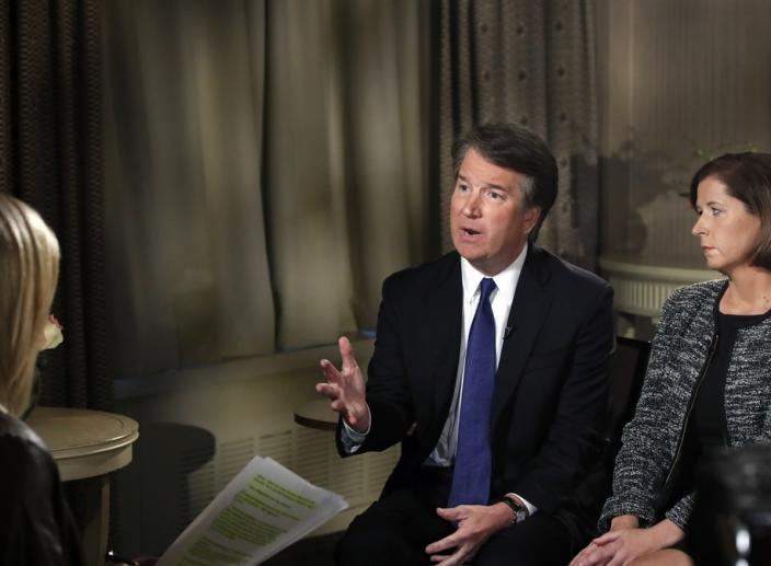 Kavanaugh Says He's 'Not Going Anywhere' When Interviewed with His Wife